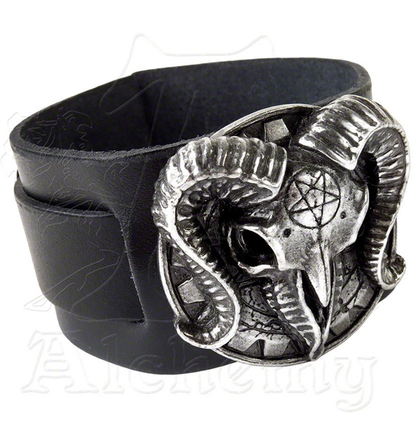 Alchemy Gothic Baphomet Gears of Aiwass Leather Cuff