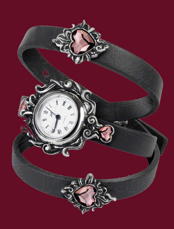 Alchemy Gothic Heartfelt Leather Watch Bracelet