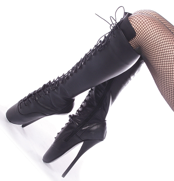 7 Inch Black Leather Lace Up Bondage Slave Ballet Boots