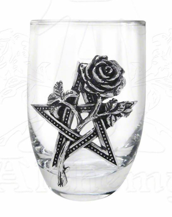 Alchemy Gothic Pentagram Rose Ruah Vered Shot Glass
