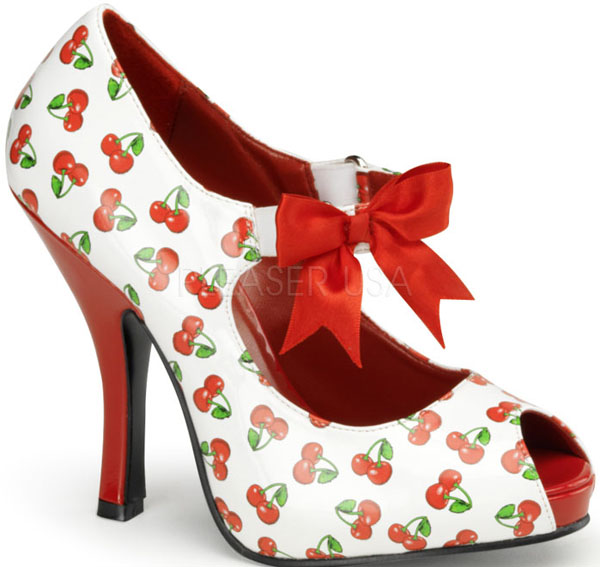 Rockabilly Red Cherries 4.5 Inch Peep Toe Bow Heels
