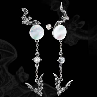 Alchemy Gothic Vampire Bat Twilight Moon Earrings