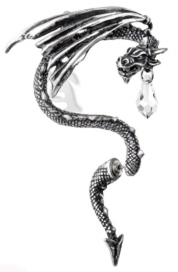 Alchemy Gothic Crystal Dragon Ear Wrap Earring