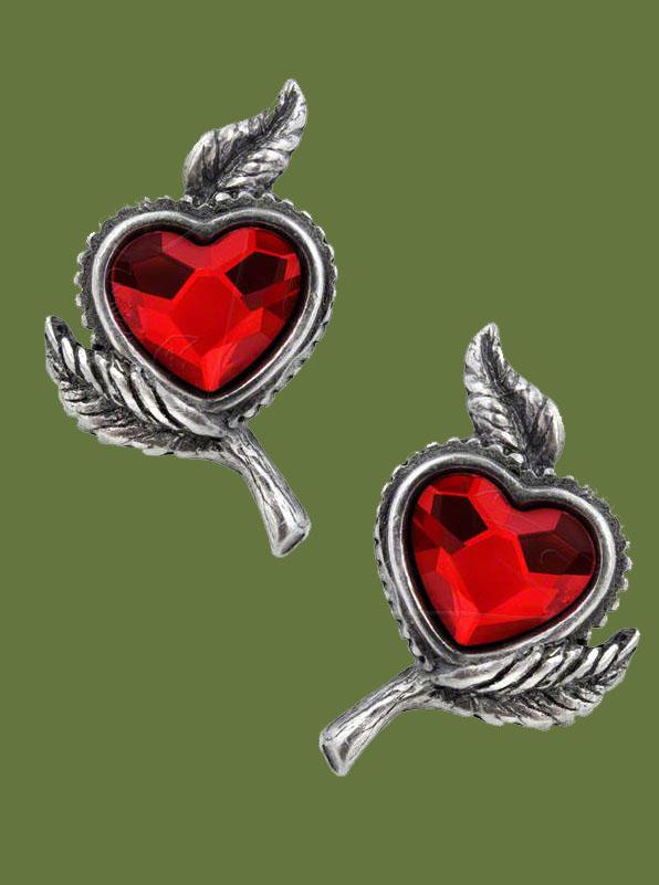Alchemy Gothic Love's Blossom Swarovski Heart Earrings