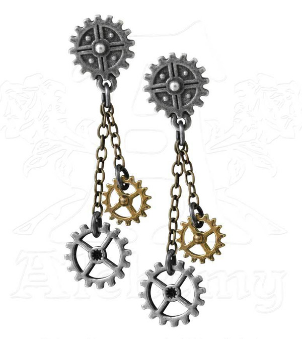 Alchemy Gothic Machine Head Earrings