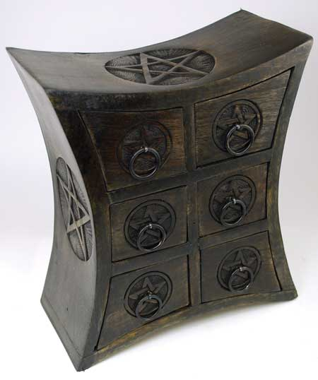 Six Drawer Wood Pentagram Herb Cupboard Chest