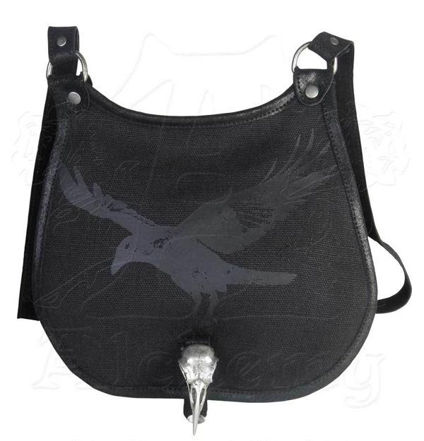 Alchemy Gothic Black Raven Skull Ravenjugar Bag