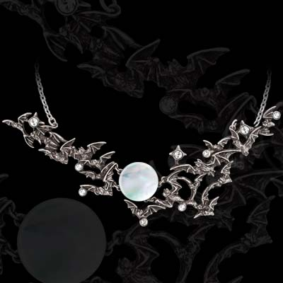 Alchemy Gothic Twilight Bats over Full Moon Necklace