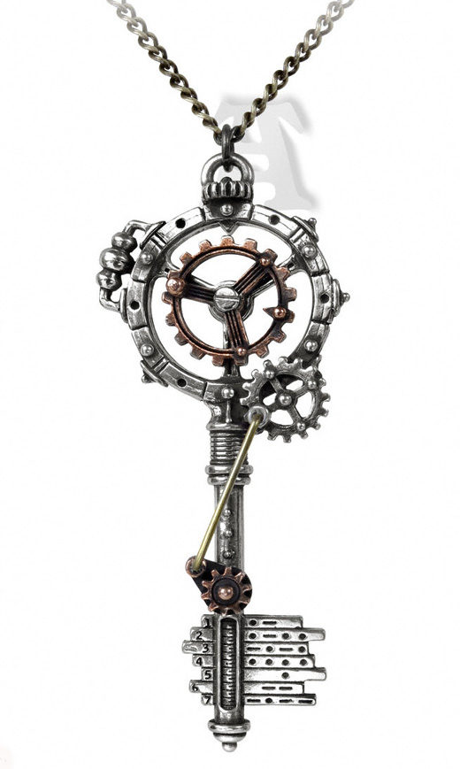 Alchemy GothicSeptagramic Coercion Gearwheel Key Pendant