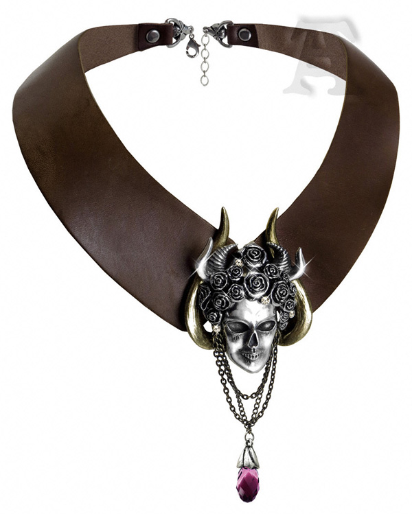 Alchemy Gothic Apate's Duplicity Leather Goddess Choker