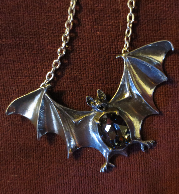 Alchemy Gothic Drakvlya Gem Crystal Bat Necklace