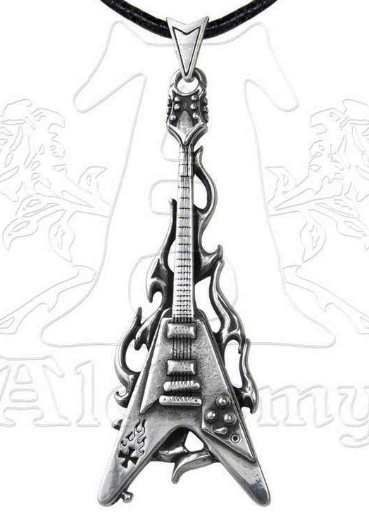 Alchemy Gothic Flaming V Guitar Pendant