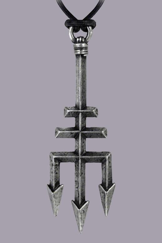 Alchemy Gothic Black Trinity Trident Pendant
