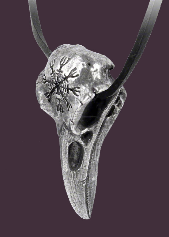 Alchemy Gothic Helm of Awe Ravenskull Bird Skull Pendant