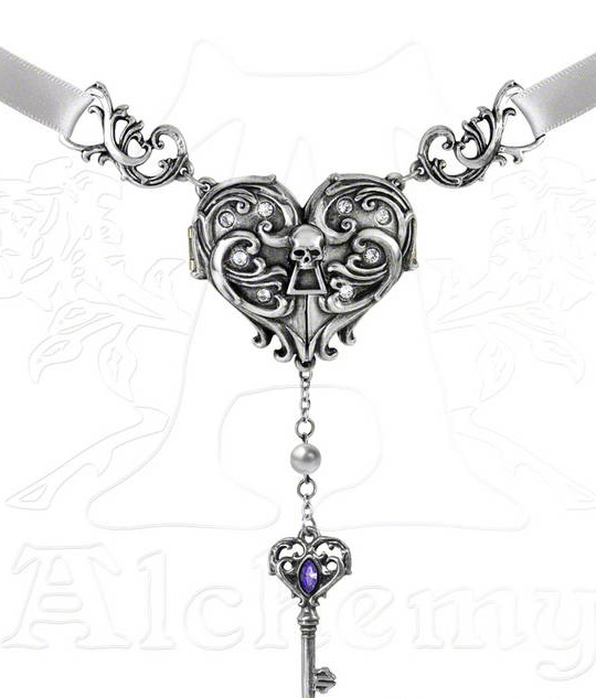 Alchemy Gothic Inamorato Locket Skull Key Heart Necklace