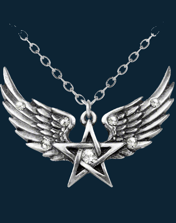 Alchemy Gothic O Fortuna Pentagram Wings Necklace