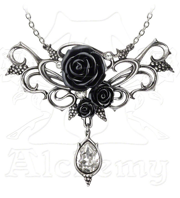 Alchemy Gothic Black Bacchanal Rose Necklace