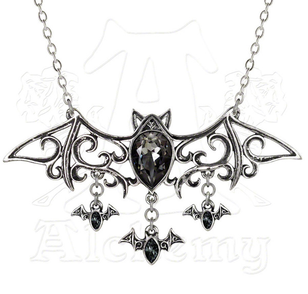 Alchemy Gothic Crystal Bats Viennese Nights Necklace