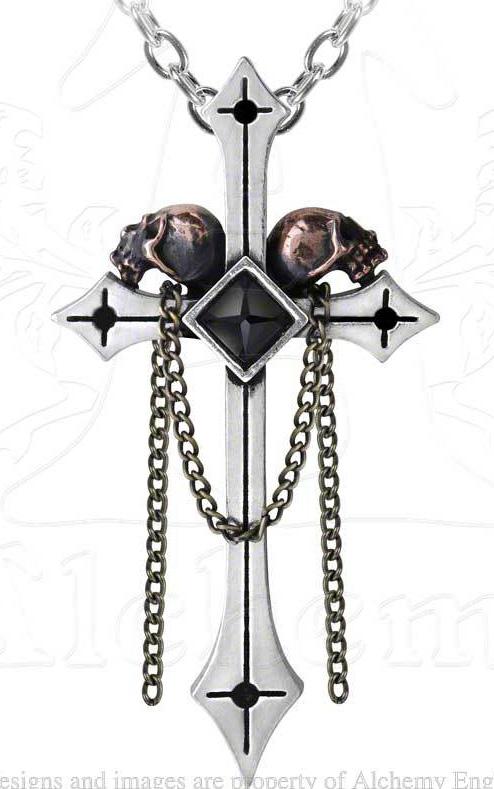 Alchemy Gothic Golgotha Skulls on Cross Pendant Necklace