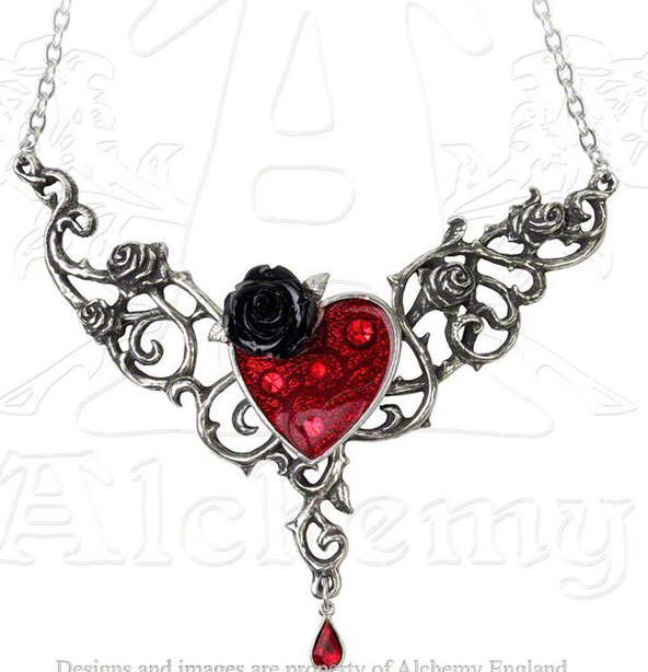 Alchemy Gothic The Blood Rose Heart Pendant Necklace
