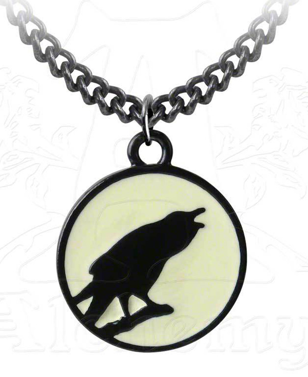Alchemy Gothic Caw at The Moon Pendant on Chain