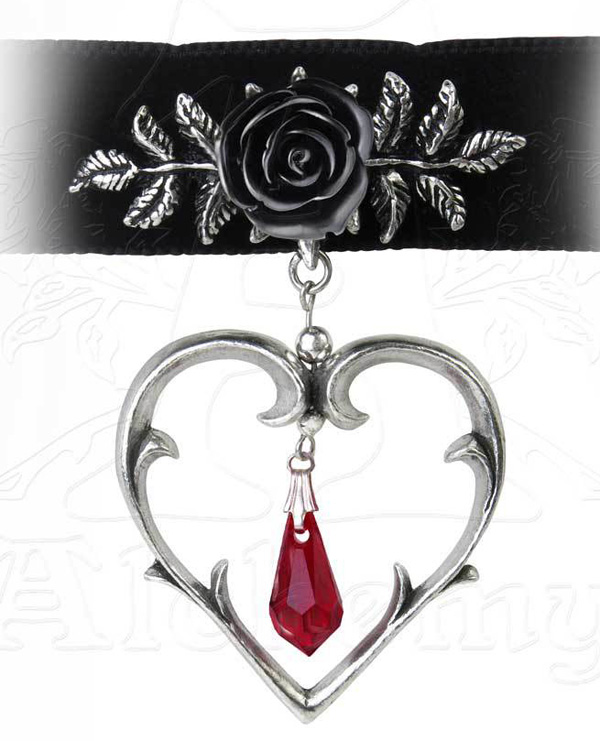 Alchemy Gothic Rose Heart Wounded Love Choker