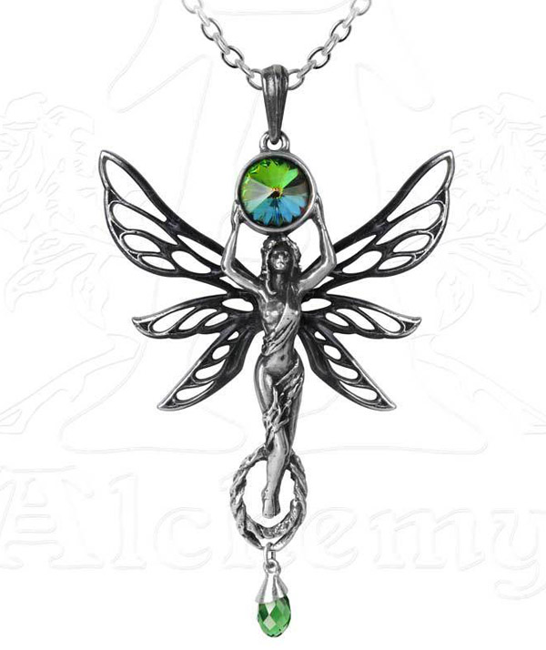 Alchemy Gothic The Green Goddess Fairy Pendant Necklace