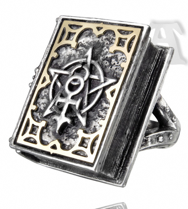 Alchemy Gothic Dee's Book of Angel Magic Stash Ring