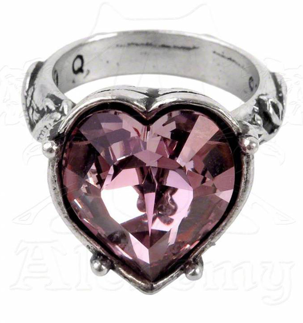 Alchemy Gothic Bower Troth Purple Crystal Heart Ring