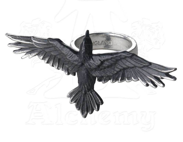 Alchemy Gothic Huge Raven Black Consort Ring