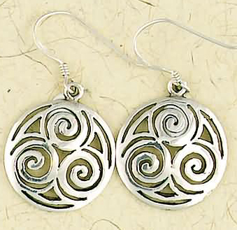Sterling Silver Triple Spiral Dangle Earrings