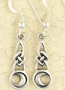 Sterling Silver Celtic Moon Dangle Earrings