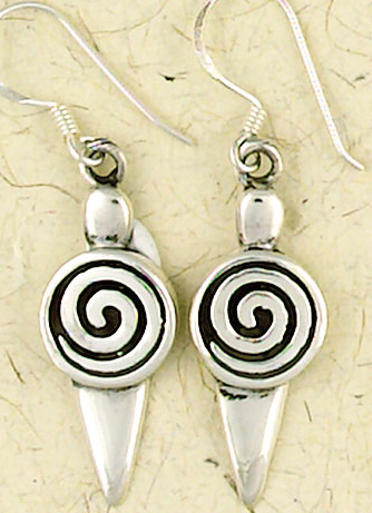 Sterling Silver Spiral Goddess Dangle Earrings