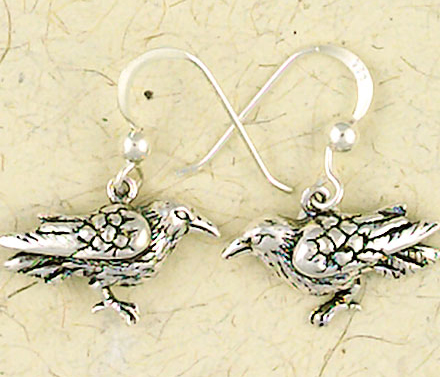 Sterling Silver Wiccan Raven Dangle Earrings