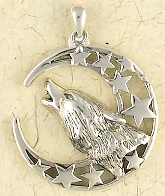 Sterling Silver Howling Wolf Moon Pendant