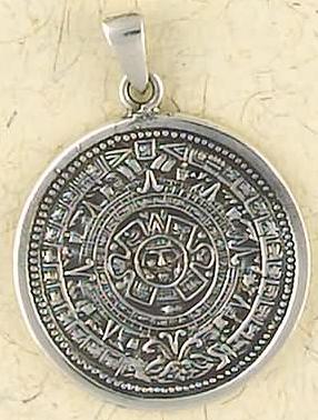 Sterling silver mayan calendar pendant aloadofball Image collections