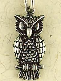 Sterling Silver Great Horned Owl Pendant Totem