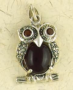 Sterling Silver Marcasite Onyx Owl Pendant