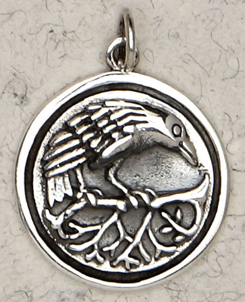 Wiccan Celtic Raven Sterling Silver Round Pendant