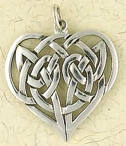 Sterling Silver Celtic Knot Heart  Pendant
