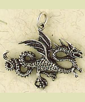 Sterling Silver Fighting Dragon Pendant