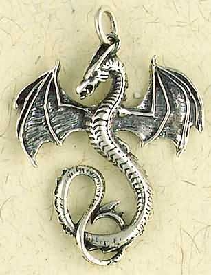 Sterling Silver Very Large Dragon Pendant