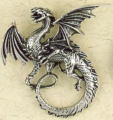 Very Large Solid Sterling Silver Dragon Pendant