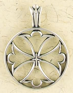 Sterling Silver Gothic Crusaders Cross Pendant