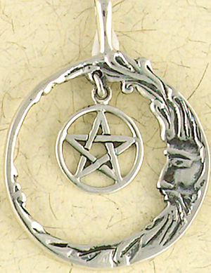 Sterling Silver Man In Moon Pentacle Pendant