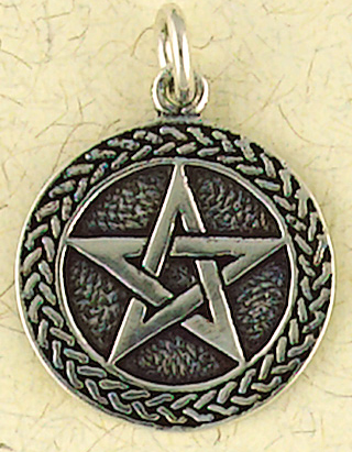 Sterling Silver Celtic Weave Pentacle Pendant