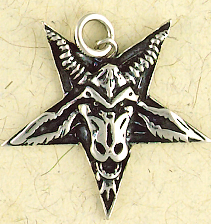 Sterling Silver Goat Baphomet Inverted Pentagram Pendant