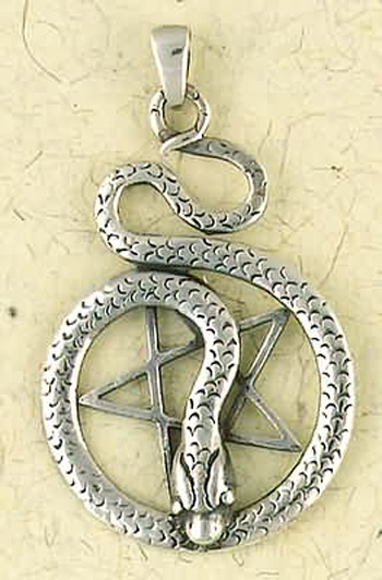 Sterling Silver Pentagram of the Snake Pendant