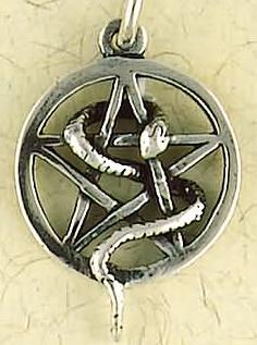 Sterling Silver Snake Pentagram Pendant