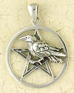 Sterling Silver Raven Pentagram Pendant